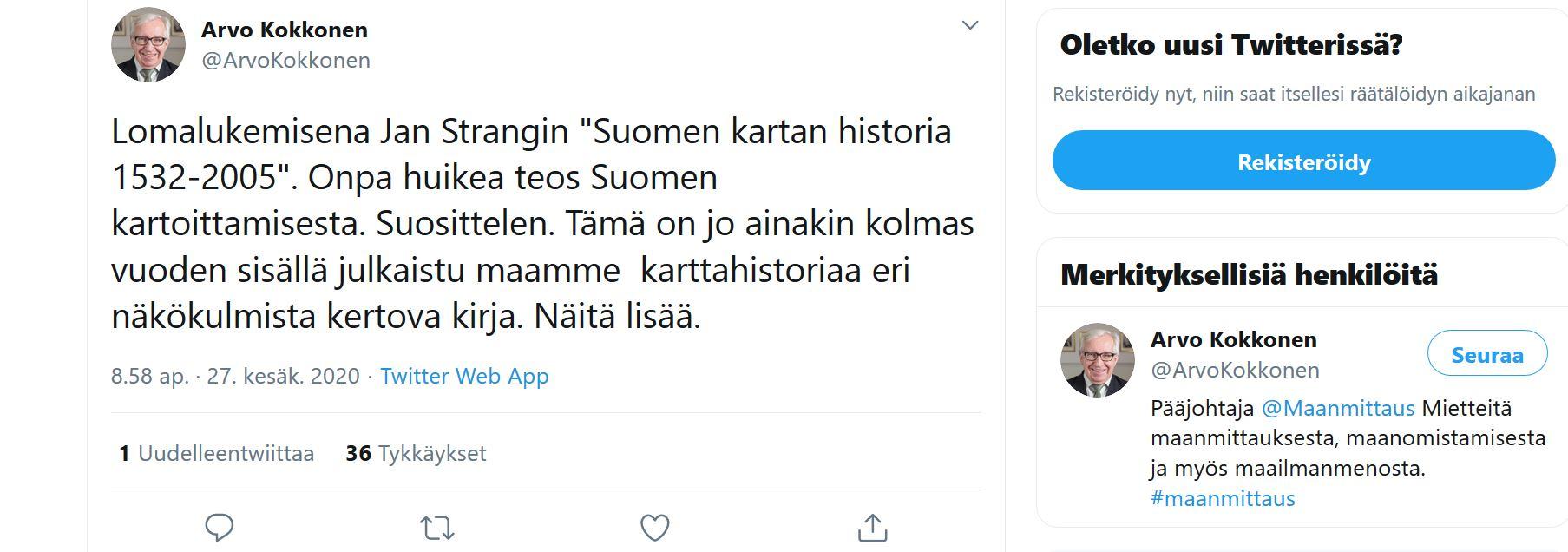 Maanmittauslaitoksen pääjohtajan Arvo Kokkosen twiitti 27.6.2020